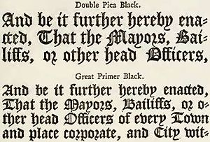 R - 18th-century example of use of r rotunda in English blackletter typography