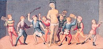 Cassian of Imola - Martyrdom of Saint Cassian, ca. 1500.  Innocenzo Francucci.