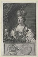 Catherine II of Russia after Torelli with Paul I's portrait (engraving).jpg
