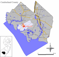 Map of Cedarville CDP in Cumberland County. Inset: Location of Cumberland County in New Jersey.