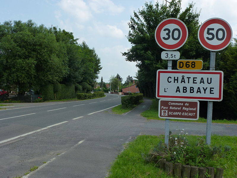 Château-l'Abbaye (Nord, Fr) city limit sign
