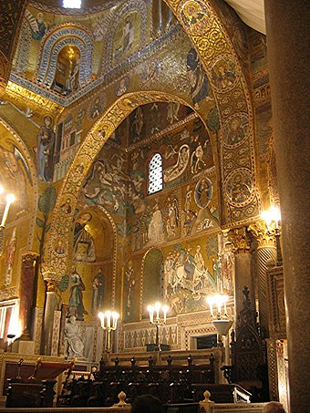 Arabic arches and Byzantine mosaics in the Cappella Palatina of Roger II of Sicily Chapelle Palatine.jpg