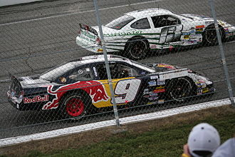 CARS Tour - Chase Elliott and John Gibson in a 2010 Pro Cup race at North Wilkesboro Speedway