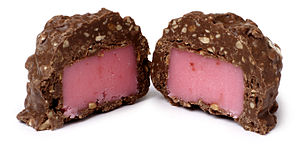 English: A Cherry Mash candy split in half. Ch...