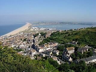 Chesil Beach shingle beach in Dorset, southern England