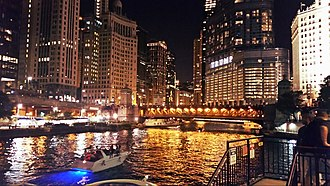 Chicago River - Chicago River at night in August 2015
