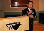 Chief Na Yu-In, Gunsan Korean National Police chief, addresses 8th Security Forces Squadron Airmen following a lunch at the Loring Club here May 3 (USAF photo 110503-F-JK379-003).jpg