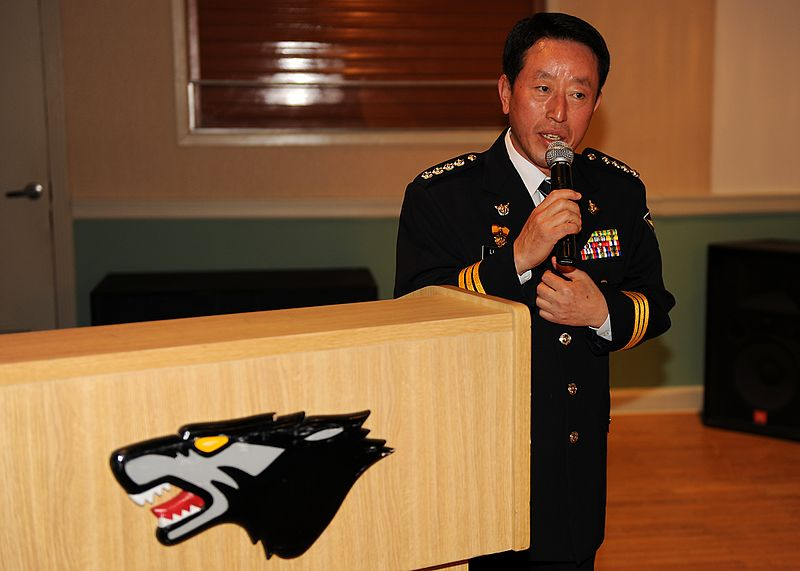 File:Chief Na Yu-In, Gunsan Korean National Police chief, addresses 8th Security Forces Squadron Airmen following a lunch at the Loring Club here May 3 (USAF photo 110503-F-JK379-003).jpg