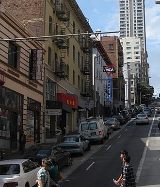 AsianWeek - Headquarters of AsianWeek at 809 Sacramento (left edge of picture), near the corner of Grant and Sacramento