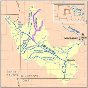 Chippewa River (Minnesota) - Map of the Minnesota River watershed with the Chippewa River highlighted (including its East Branch)