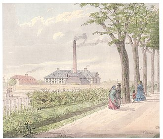 Elisabethsminde - The Elisabethsminde chocolate factory depicted by Heinrich Gustav Ferdinand Holm in 1845