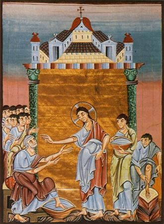 Gospels of Otto III - Image: Christ washing the Apostles' feet Otto III Gospels