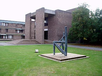 Churchill College, Cambridge - Main entrance and Dhruva Mistry sculpture