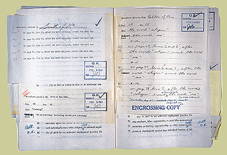 "National Woman's Party - House Rules Committee clerk's record of markup session adding ""sex"" to bill."