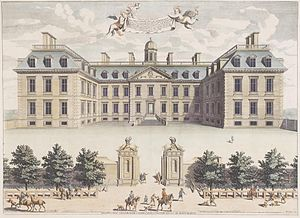 Clarendon House - Clarendon House, circa 1680, when owned by the Duke of Albemarle. Engraving by William Skillman (fl.1660-1685) from painting by Johann Spilberg II (1619-1690)