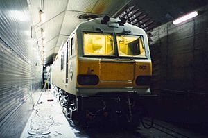 Arsenal (Vienna) - Class 92/CC 92000 Channel Tunnel locomotive during −25°C cold-weather testing in 1994.