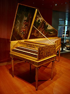Harpsichord musical instrument played by means of a keyboard