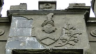 Clifden Castle - Eyre family crest on the entry tower.