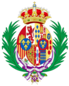 Coat of arms of Maria Mercedes of Bourbon, Countess of Barcelona as consort of the Pretender to the Spanish Throne (1977–2000).png