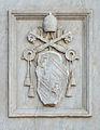 Coat of arms of Pius IX on San Giovanni Calibita in Rome.jpg