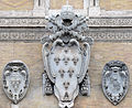 Coat of arms of Pope Paul III Farnese on Palazzo Farnese Rome.jpg