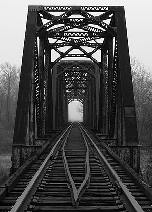 Deck (bridge) - An open-deck railway bridge in Leflore County, Mississippi