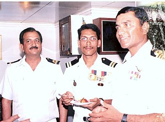 INS Ranvijay - Image: Comm.C.S. Patham and Capt. Ajith