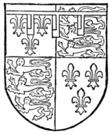 Fig. 726.—George Plantagenet, Duke of Clarence, brother of Edward IV.: France and England quarterly, a label of three points argent, each charged with a canton gules. (From MS. Harl. 521.)