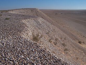 Banc d'Arguin National Park - Shell midden several kilometers long and tens of meters high proving an intense prehistoric use of the area