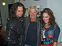 Constantine Maroulis Kevin Cronin and Kelli Barrett backstage at Rock of Ages.jpg