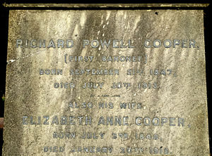 Sir Richard Cooper, 1st Baronet - Monument to the Cooper Family in Rectory Lane Cemetery, Berkhamsted, Hertfordshire