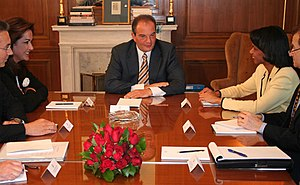 Greece–United States relations - Meeting of the Secretary of State Condoleezza Rice, Greek Foreign Minister Dora Bakoyannis(left) and Greek Prime Minister Costas Karamanlis (center) at Maximos Palace in Athens