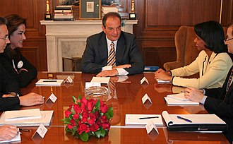 Greece–United States relations - Meeting of the Secretary of State Condoleezza Rice, Greek Foreign Minister Dora Bakoyannis (left) and Greek Prime Minister Costas Karamanlis (center) at Maximos Palace in Athens