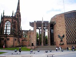 The old and new Coventry Cathedrals, in the Diocese of Coventry. The new cathedral was built next to the ruins of the old, which was destroyed in the Second World War.