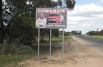 "Cowangie - Sign proclaiming Cowangie to be the ""Hometown of Larry Perkins"""