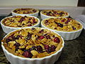 Cranberry, Caramel, Almond Tarts in ramekins, 2007.jpg