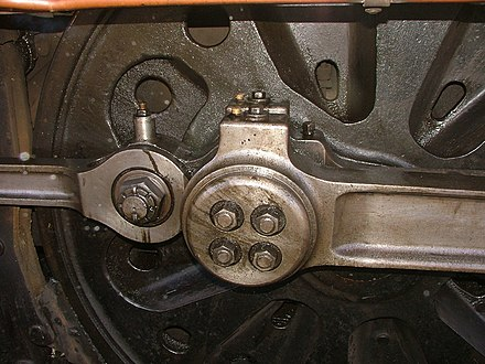 Big-end bearing (with connecting rod and coupling rod) of a Blackmoor Vale showing pierced cork stoppers to oil reservoirs Crank pin Blackmoor Vale.jpg