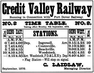 Credit Valley Railway - Timetable from 1878 for Ingersoll-Woodstock section of CVR.