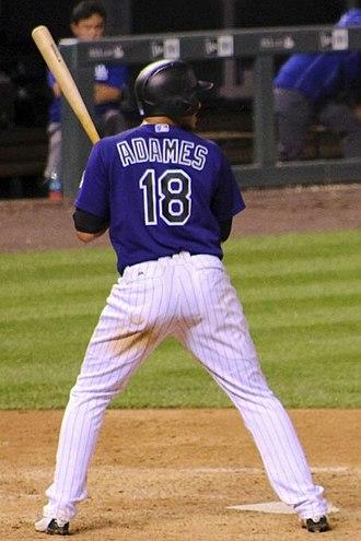 Cristhian Adames - Adames batting for the Colorado Rockies in 2016