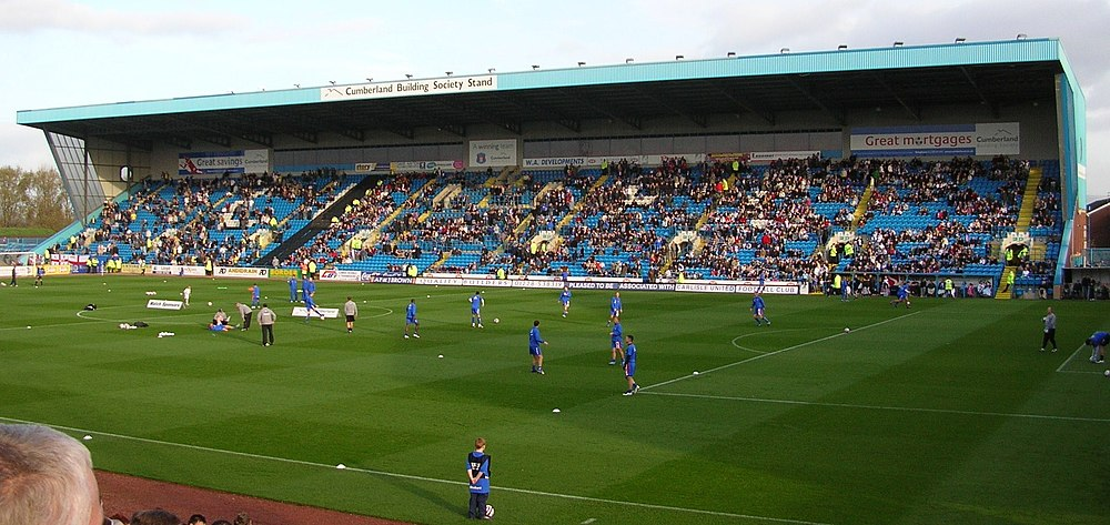 A view over Brunton park from the Paddock towards the East (The Pioneer Foods) Stand.