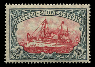 "Postage stamps and postal history of German South West Africa - 5-mark ""Yacht"", 1906."