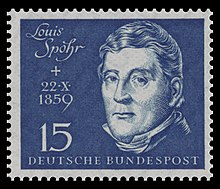 Briefmarke der Deutschen Bundespost (1959) zum 100. Todestag Spohrs und zur Einweihung der Beethovenhalle (Quelle: Wikimedia)