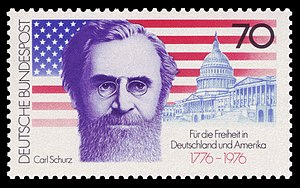"Carl Schurz - ""For freedom in Germany and America"": West German commemorative stamp featuring Schurz for the United States Bicentennial, 1976"
