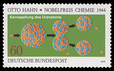 German stamp honoring Otto Hahn and his discovery of nuclear fission (1979) DBP 1979 1020 Otto Hahn Kernspaltung.jpg
