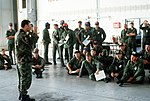 DF-ST-83-07413 After their arrival, Air Force personnel receive an orientation talk as they wait in an in-processing line to begin their participation in Reforger 82.jpeg