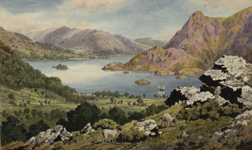 1825 painting of Ullswater (Wiki - Museum of Wales - By John Parker - This image is available from the National Library of WalesYou can view this image in its original context on the NLW Catalogue, Public Domain, https://commons.wikimedia.org/w/index.php?curid=47585043)