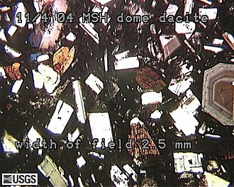 Dacite - Thin section of a porphyritic dacite from Mount St. Helens