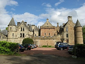 Dalzell House - Dalzell House: the tower house is in the centre, with the 17th-century south range on the right, and the 19th-century north range on the left