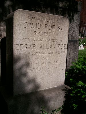 William Henry Leonard Poe - This stone marks the Poe family plot at Westminster Hall and Burying Ground, where David Poe, Sr. and William Henry Leonard Poe are buried.
