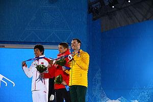 David Morris (skier) - Sochi 2014 Men's Aerial Skiing Medallists.  Anton Kushnir (Gold), David Morris (Silver), Jia Zongyang (Bronze)